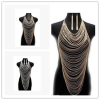 Wholesale Multilayer Body Chain - 2015 Fashion Jewelry Gold Silver Body Chain Tassel Multilayer Chains Choker Heart Collar Necklace For Women