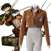 Wholesale Attack Titan Eren Cosplay - Free Shipping Attack on Titan Cosplay Shingeki no Kyojin Eren Yeager Cosplay Costume Survey Corps Uniform Jacket Custom Size