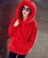 корейский модный мех оптовых-New 2017 Women Hoodies Sweatshirt Brand Korean Warm Velvet Hooded Fashion Rabbit Fur Women Jacket Ladies Clothing Outwear