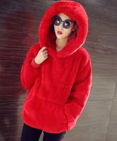 kürklü hoodie giyim toptan satış-Yeni 2017 Kadın Hoodies Kazak Marka Kore Sıcak Kadife Kapşonlu Moda Tavşan Kürk Kadın Ceket Bayanlar Giyim Dış Giyim