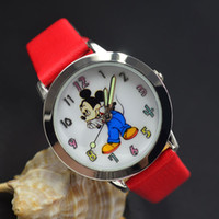 Wholesale Children Analog Wrist Watch - Cartoon Beautiful girl Mickey Minnie mouse style Color number dial children students girl's leather quartz wrist watch 05