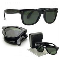 façon lunettes de soleil achat en gros de-Marque Designer Hommes Pliage façon lunettes de soleil avec étui en cuir populaire pliable femmes polarisées lunettes de soleil, livraison gratuite