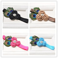 Wholesale Peacock Feathers Accessories - Baby Girls Headbands Kids Girl 3D Rose Flower Headband 2017 Infant Princess Peacock Feather Headband Children Hair Accessories Photo Props