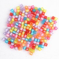 Wholesale Plastic Beads Alphabets - 2016 100 rainbow loom rubber bands beaded transparent colored alphabet puzzle square color beads 4