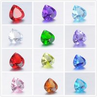 Wholesale Glass Cubes Wholesale - 240pcs crystal beads 5mm Imitation Zircon Heart Birthstone Floating Charm DIY Glass Floating Locket Accessories free shipping
