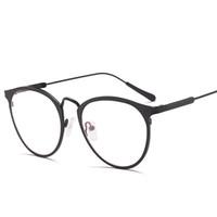 Wholesale Fake Glasses Frames - New Band cat eye Glasses transparent Alloy Gold Frame Glasses Classic Optics Eyeglasses Clear Lens Women Men Fake Glasses Female VE0136