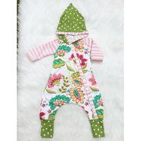 Wholesale Hoodie Chic - Baby girls flower hooded romper stripe dots floral splicing colors hoodie onesie for 0-2T chic infants floral cloth long sleeve onesies