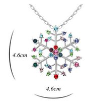 Wholesale Gold Elf Pendant - China factory jewelry 2017 latest design Austrian Crystal diamonds pendant necklace for women personalized snowflake snow elf necklace 10pcs