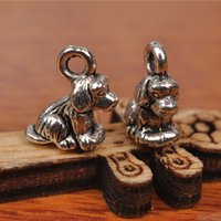 Wholesale Dog Pendant Earring - Hualu 7240 200 Pieces 10*10mm Lovely 3D Dog Papillon Charms Tibetan Silver DIY Jewelry Pendant Making Fingding necklace Bracelet Earring