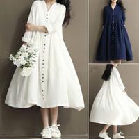 Wholesale fleece lined shirt l - Fashion Women's Loose Cotton Linen Long Sleeve Tunic Shirt A-line Casual TUTU Dress Tops Kaftan Vestidos