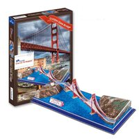 Wholesale Toys Gate - Top World famous buildings Jigsaw Model 3D Puzzle Golden Gate Bridge DIY Xmas Gift Toys for childrens day Learning Education