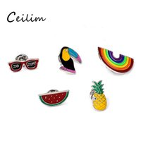 Discount enamel animal brooches New Cartoon DIY Collar Brooch Set Rainbow Watermelon Pineapple Crow Eyesweyes Enamel Lapel Pins Badge for Women Fashion Jewelry Wholesaler