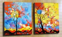 Wholesale 2pcs Set Wall Painting - 100% Hand-painted High Quality Large Beautiful Modern Abstract Tree Oil Painting on Canvas Home Wall Decor Art Paintings 2pcs set B91