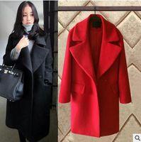 Wholesale Korean Down Coat Women - 2016 Fashion Autumn winter Korean new woman woolen Thicker Long Plus Size Women Coat Elegant Warm Jacket outwear down coat