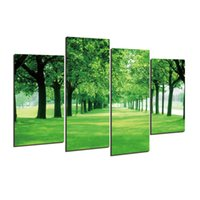Wholesale Green Trees Wall Canvas - Giveaway wall sticker 4 Panel Green Tree Canvas Painting Picture Cuadros Printed Landscape Painting For Living Room No Frame h 072