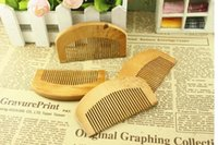 Wholesale round peach - Natural Peach Wooden Comb Beard Comb Pocket hair brush can print logo
