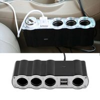 Wholesale Multi Plug Car Charger - WF-4008 Auto Car 4 Way Multi Socket Cigarette Lighter 1x4 Splitter 2 Dual USB Plug Adapter Charger