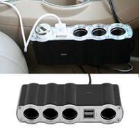 multi chargeur achat en gros de-WF-4008 Auto Car 4 Voies Multi Socket Allume-cigare 1x4 Splitter 2 Dual USB Plug Adaptateur Chargeur