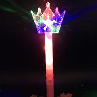 ingrosso luci fiabesche-New Cute Girls Fairy Princess Stick LED lampeggiante Chiaro bacchetta magica Sticks Princess Crown Festa dei bambini regalo del giorno