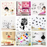 Wholesale Car Sticker Tree - DHL Free Mix Order Removable 2016 Cartoon Wall Stickers for Kids Nusery Rooms Decorative Wall Decals Cars Robot Planes Trees 50pcs Lot