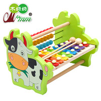 Wholesale Baby Toy Frame - Wooden Xylophone Cows 8-Note Music Instrument Hand Knocking Piano Children's Educational Toys Calculator Frame Kid Musical Toys Baby Gift