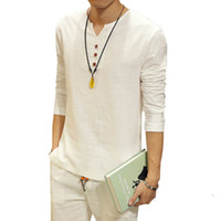 Wholesale New Kung Fu - Wholesale-Hot 2016 Summer New Chinese Kung Fu Vintage Style Men Shirt Men's V Neck Long Sleeve Linen Shirt Plus Size Mens Clothing 5XL