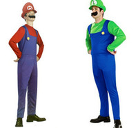 Wholesale Mario Luigi Costumes - adult Funy Cosplay Super Mario Luigi Brothers Fancy Dress Up Party Cute Costume Adult Children Kid Free Shipping