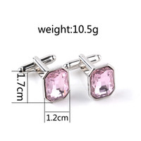 Wholesale Clip Buttons - Pink Crystal alloy French Cufflinks for mens tie clip Cuff Link for Shirt buttons cufflinks high quality lovers wholesale 170610