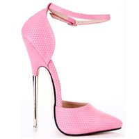 Wholesale White High Heels Size 11 - 2017 Women Pumps 16cm Super Metal Thin High Heels Pumps Shoes For Women High Heel Sexy Party Wedding Shoes US Size 11 12 13 14 15