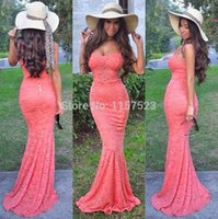 Wholesale Memaid Prom Dresses - 2016 Memaid Prom Dresses Spaghetti Sexy Sweep Train Lace Prom Gowns Simple Style Custom Made Vestidos De Festa High Quality Cheap Charming