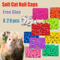 Wholesale Cat Protectors - 20pcs   bag Antiscratch Soft Silicon Cat Nail Caps   Cat Nail Cover   Paw caps   Pet Nail Protector with free Adhesive Glue Size XS S M L