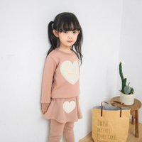 Wholesale Spring Clothes Arrival For Kids - Cute love decoration casual suit Thickening sweater pantskirt Warm clothes for baby girls kids children 2016 autumn winter new arrival
