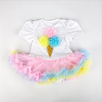 Wholesale Tutu Wholesale Materials - Kids Short Sleeve Rompers Cotton and Chiffon Material Girls Romper with Tutu Skirt for the whole years