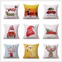 Wholesale Xmas Throw Pillows - Christmas Pillows Case Xmas Pillow Cover Reindeer Elk Throw Cushion Cover Tree Sofa Nap Cushion Covers Santa Claus Home Decor 45*45cm B2864