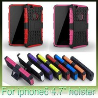 Wholesale Hard Rubber Iphone Holster - 2 in 1 Hybrid robot Stand Kickstand Holster Armor case PC Hard TPU Silicone rubber soft Robot Case For iphone 6 plus