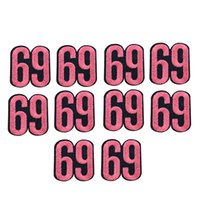 Wholesale Number Transfer - 10PCS Pink Number 69 Embroidery Patches for Clothing Bags Iron on Transfer Applique Patch for Garment Jeans DIY Sew on Embroidery Badge