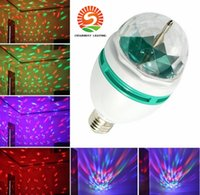 Wholesale Mini Rotating Magic Crystal Ball - Promotion Magic Ball RGB Full Color 3W E27 LED Bulb Crystal Auto Rotating Stage Effect DJ Light Bulb Mini laser Stage Light
