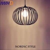Vente en gros - IWHD Nordic StyIe Iron Led Pendant Lights Modern Fashion Black Cage Pendant Light Fixtures Home Lighting Suspendsion Luminaire