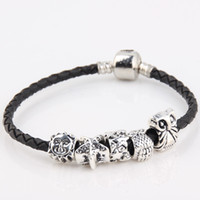 Wholesale Large Oval Beads - 100pcs lot Charms Sun Sea Star Owl Star Retro Tibetan silver alloy large hole beads for Pandora