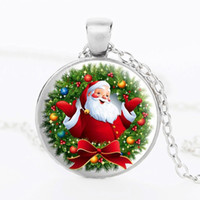 Wholesale Happy New Year Glasses - Christmas gift Santa Claus 2016 New Fashion Time Gem Stone Necklace Glass Happy New Year Party Pendant Necklaces