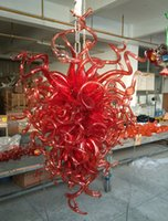 araña decorativa grande al por mayor-Estilo Chihuly Lámpara de arte en vidrio soplado rojo DIY Empotrado Montaje en techo moderno Fuente de luz LED decorativa Lámpara de vidrio roja grande