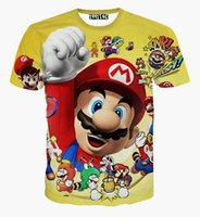 Wholesale Shirt 3d Mario - Harajuku style newest fashion cartoon 3d t shirt cute super mario paparazzi t shirts summer casual tops tee shirt for women men