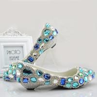 Wholesale Blue Shoes For Bride - Blue Rhinestones Wedding Shoes For Bride Bridal Pumps 2.5cm 6cm Low Heel Comfortable Wedding Shoes for Bride Flats US5-US9 Beaded Shoe
