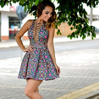 Wholesale Sexy Clothes Line - 2016 new Summer Dress vestido de festa fashion sexy Expose nightclub dress print dress clothing woman Bandage Party Dress