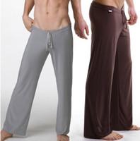брюки чистой йоги оптовых-Wholesale-Hot Sleep Bottoms Men Pijama  New America Pajamas Hot Sexy Yoga Pants Soft Comfortable Sheer Nightgown Pyjama Trousers