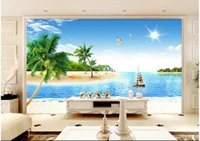 Wholesale Vintage Beach Painting - 3d wallpaper custom photo non-woven mural Coconut palm beach scenery decoration painting 3d wall murals wallpaper for walls 3 d