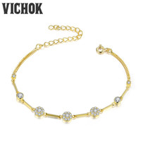Wholesale 925 Sterling Silver Yellow Rings - 925 Sterling Silver Bracelets Trendy Authentic Bracelet for Women Adjustable Charms Bracelets Party Jewelry Gift Yellow Gold Color VICHOK