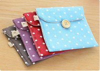Wholesale grey napkins - Portable Brief Cotton Bags Cute Storage Bags Polka Dot Organizer Female Hygiene Sanitary Napkins Package Coin Purse Case 5 Colors Free DHL