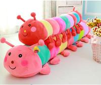 ingrosso letti gratuiti per i bambini-70 cm Colorful caterpillar peluche bambola letto cuscino preferito bambola regalo di compleanno per bambini spedizione gratuita
