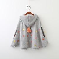 Wholesale Girls Coats Kids Hooded Sweater - Girls Cape Sweater Poncho Coat Outerwear 2017 New Autumn Winter Sleeveless Warm Fashion Cardigan Coat Kids Ball Outerwear YAN-629